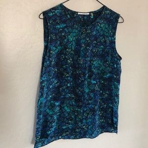 Tahari 100% SILK Blue Green Snake Print Blouse